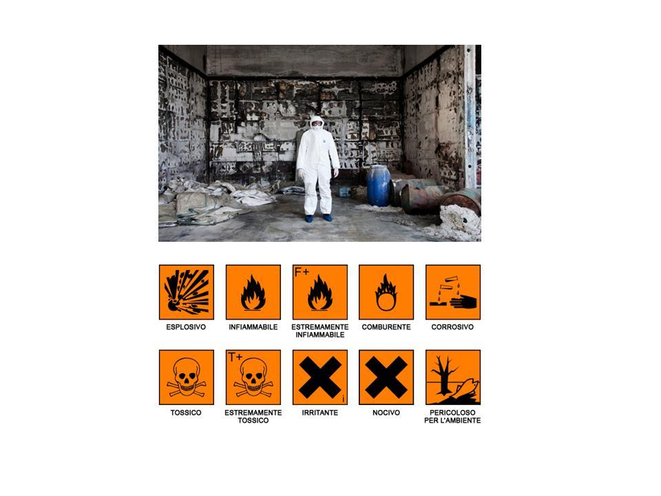 Uomo in tuta con simboli pericolo